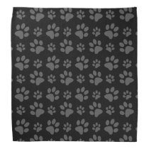 Black dog paw print bandana