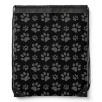 Black dog paw print drawstring bag