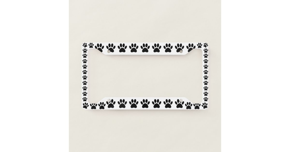 Black Dog Paw Print License Plate Frame   Zazzle.com