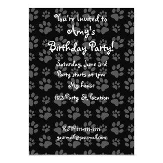 Black dog paw print pattern card