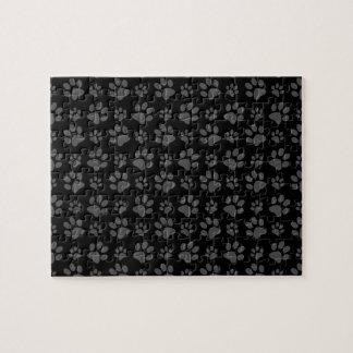 Black dog paw print pattern jigsaw puzzle