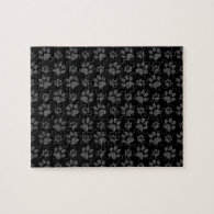 Black dog paw print pattern puzzle