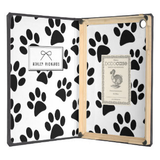 Black Dog Paw Print Personalized iPad Air DODOcase Cover For iPad Air