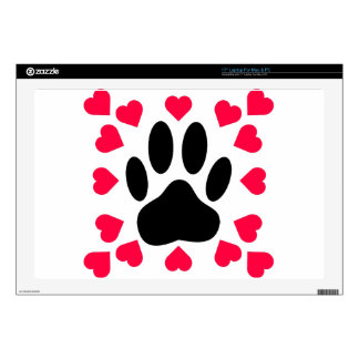 Black Dog Paw Print With Heart Shapes Skin For Laptop