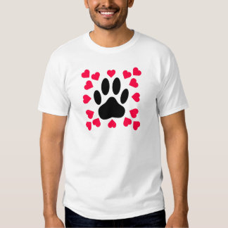 Black Dog Paw Print With Heart Shapes T Shirt