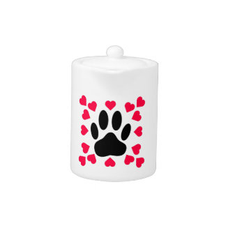 Black Dog Paw Print With Heart Shapes
