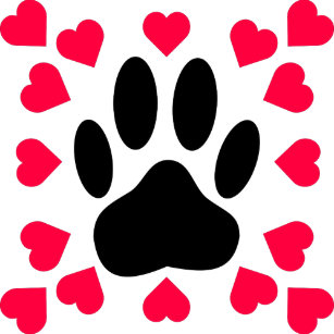 74c7d91ed0ba Black Dog Paw Print With Heart Shapes Wrapping Paper
