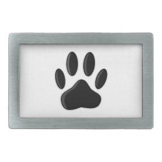 Black Dog Paw Print With Newsprint Effect Belt Buckle