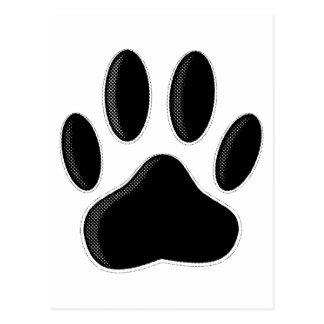 Black Dog Paw Print With Newsprint Effect Postcard