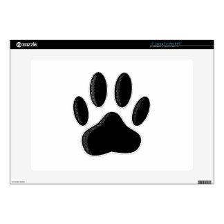 """Black Dog Paw Print With Newsprint Effect Decal For 15"""" Laptop"""