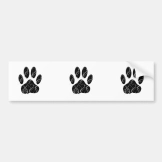 Black Dog Paw Print With White Flourishes Bumper Stickers