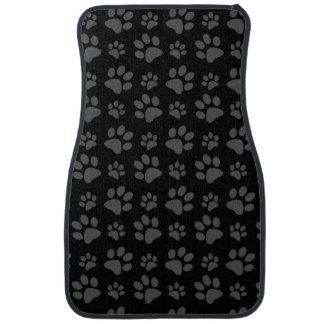 Black dog paw print car mat