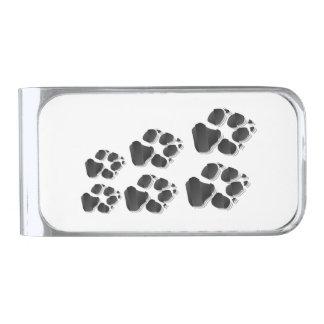 Black dog paw silver finish money clip