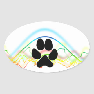 Black Dog Paw sound waves Sticker