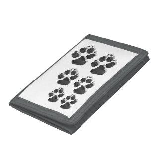Black dog paw trifold wallet