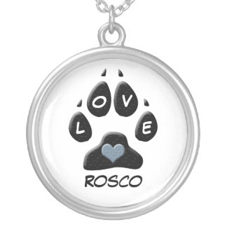 Black Dog Paw with Blue Heart Custom Silver Plated Necklace