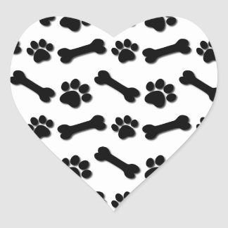 BLACK Dog Paws and Bones Custom Name and Sentiment Heart Sticker