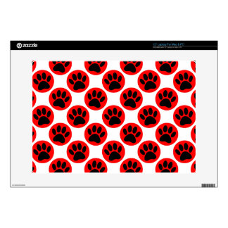 Black Dog Paws In Red Polka Dots Laptop Decal