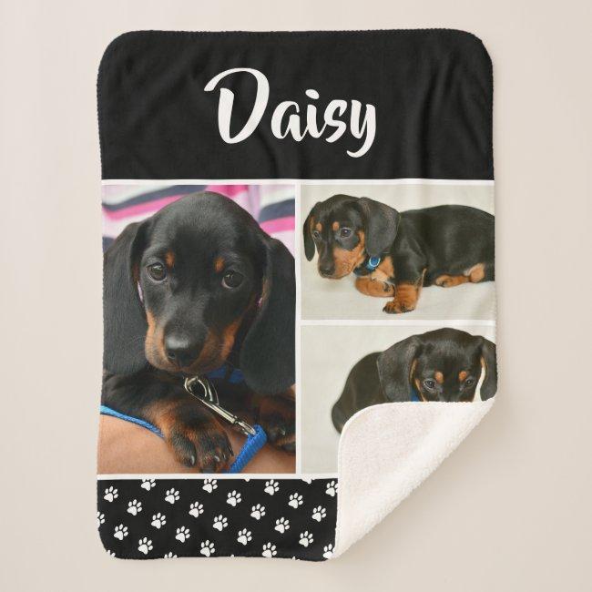 Black Dog Pet Lover Photo Collage Pawprint Sherpa Blanket