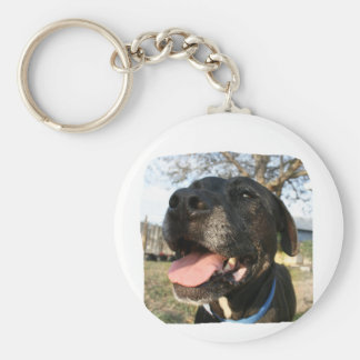 Black Dog Pink Tongue Smiling In Camera Key Chain