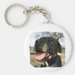 Black Dog Pink Tongue Smiling In Camera Basic Round Button Keychain