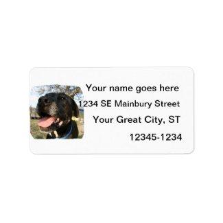 Black Dog Pink Tongue Smiling In Camera Custom Address Labels