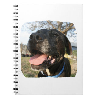 Black Dog Pink Tongue Smiling In Camera Notebook