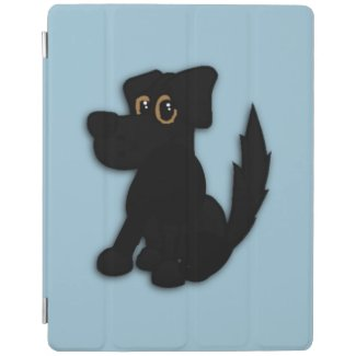 Black Dog Pooch Blue iPad Cover