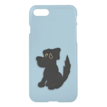 Black Dog Pooch Blue iPhone 7 Case