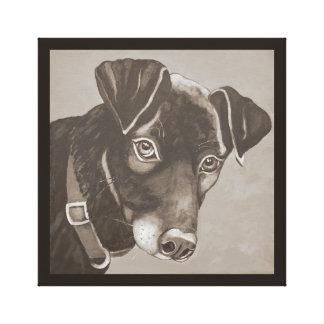 "Black Dog Portrait, ""Cooper"" An energetic Lab Canvas Print"