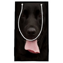 Black dog portrait small gift bag