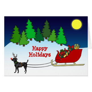 Black Dog Pulling Sleigh Cards