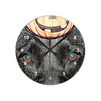 black dog pumpkin on head sketch round clock