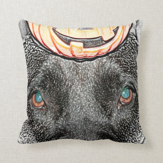 black dog pumpkin on head sketch throw pillow