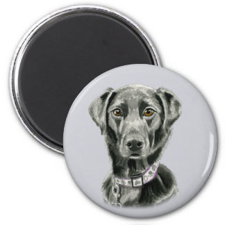 Black Dog Watercolor Painting Magnet