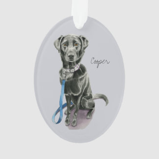Black Dog Watercolor Painting Ornament