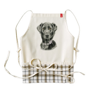 Black Dog Watercolor Painting Zazzle HEART Apron