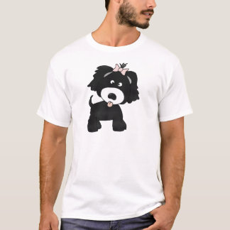 Black Dog with pink bow T-Shirt