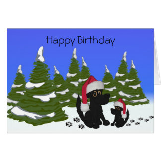 Black Dogs Christmas Birthday Card