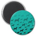 Black dogs pattern magnet
