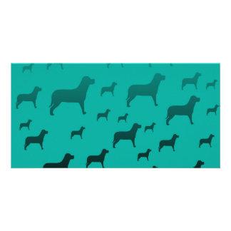 Black dogs pattern photo card