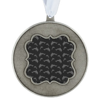 Black dolphins scalloped ornament