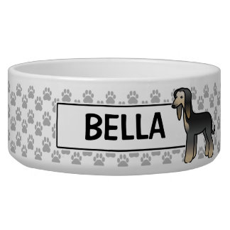 Black Domino Afghan Hound Cartoon Dog Bowl