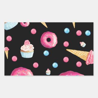 Black Donut Collage Rectangular Sticker