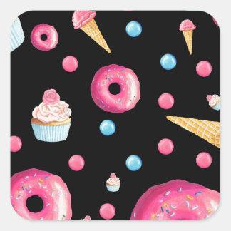 Black Donut Collage Square Sticker