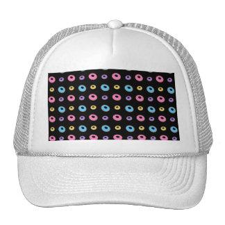 Black donut pattern trucker hat