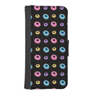 Black donut pattern phone wallets