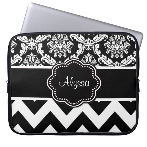 Black Dot Damask Personalized Laptop Case Laptop Sleeves