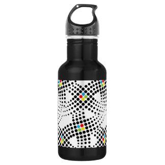 Black Dot Rainbow Pattern Water Bottle