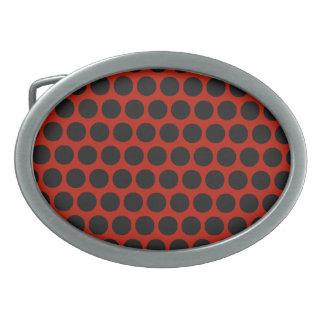 Black Dot Red Oval Buckle Oval Belt Buckle